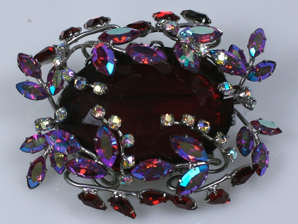 Amazing Czech Large Ruby Brooch 2