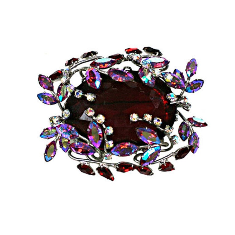 Amazing Czech Large Ruby Brooch 1