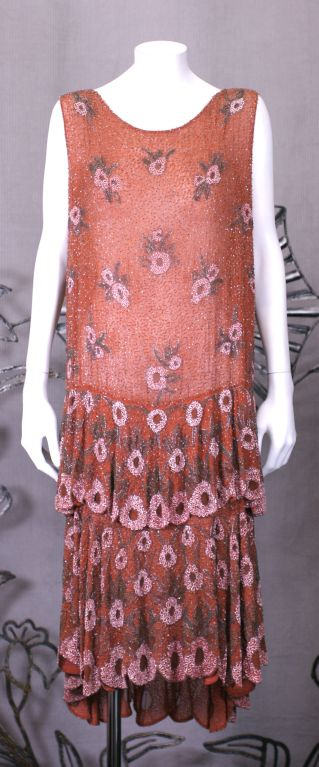Lovely French Beaded and Hand Painted Flounced Flapper Dress 2