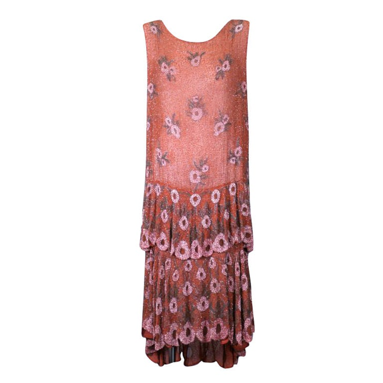 Lovely French Beaded and Hand Painted Flounced Flapper Dress 1