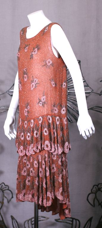 Lovely French Beaded and Hand Painted Flounced Flapper Dress 3