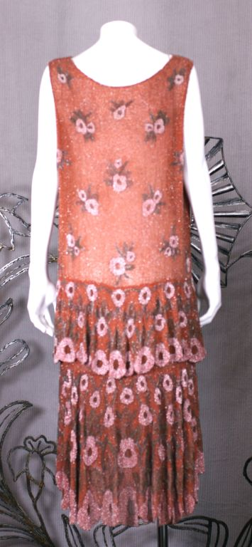 Lovely French Beaded and Hand Painted Flounced Flapper Dress 4