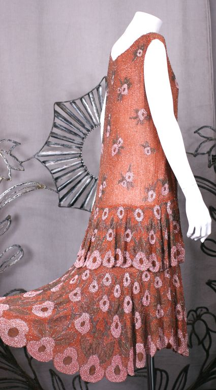 Lovely French Beaded and Hand Painted Flounced Flapper Dress 5