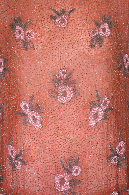Lovely French Beaded and Hand Painted Flounced Flapper Dress 6