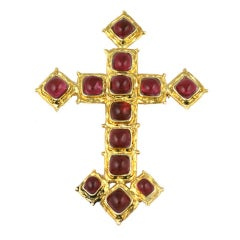 Chanel Ruby Cross Brooch Pendant