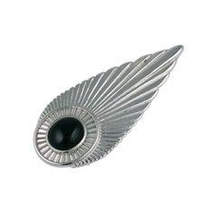 Erte Sterling Deco Feather Brooch