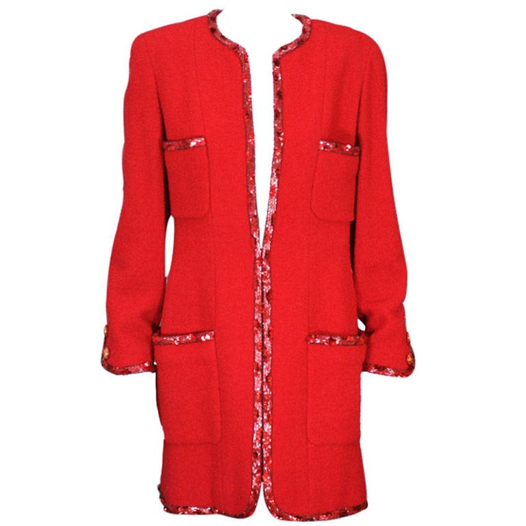 Chanel Boucle Elongated Jacket with  Beaded Trim