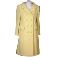 Norell Pale Lemon Wool Coat, 1960s.