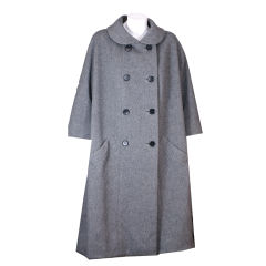 Norell A Line Grey Wool Coat