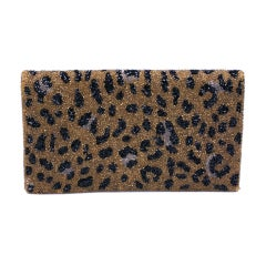 Magid Leopard Beaded Clutch