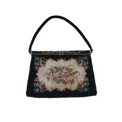 French Cut Steel Rose Intarsia Purse