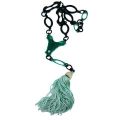 French Art Deco Celluloid Long Tassel Necklace