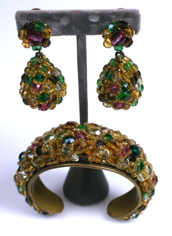 Important Coppola e Toppo ornate crystal wired cuff and pendant earrings in multicolors on a smoky citrine base. Handmade in Italy, 1950's.