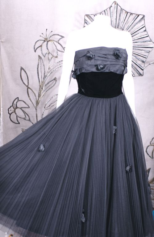 Women's Jacques Fath  Pleated Tulle and Taffeta Rose Gown