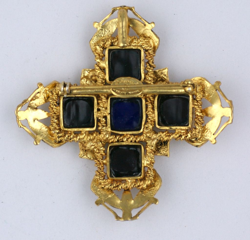 Chanel Amythest and Sapphire Pate de Verre Brooch 3