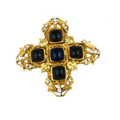 Chanel Amythest and Sapphire Pate de Verre Brooch