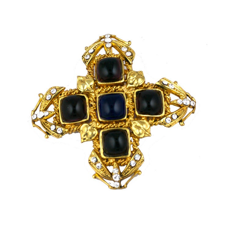 Chanel Amythest and Sapphire Pate de Verre Brooch For Sale