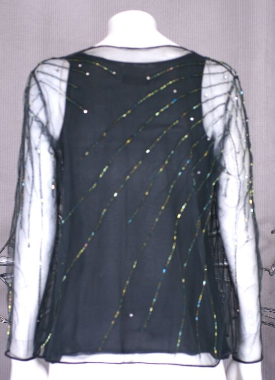Black Halston Chiffon Tank and Beaded Jacket For Sale
