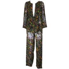 Halston Cut Velvet Silk Chiffon Pant Suit