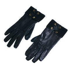 Hermes Black Calf and Suede Gloves