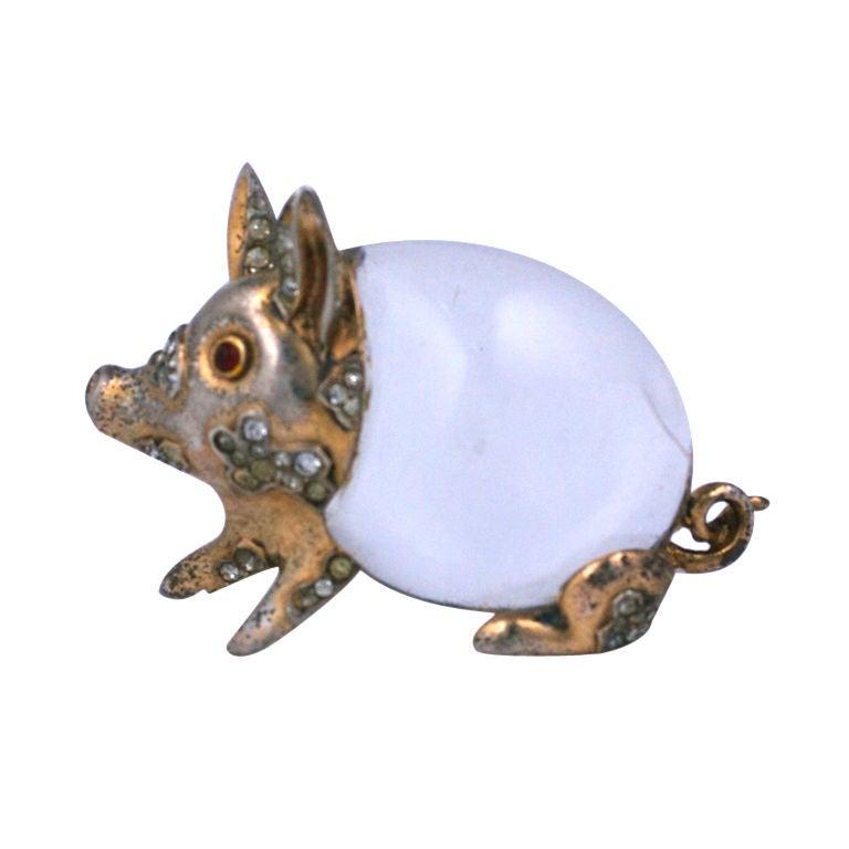 Amusing Trifari Pig Brooch For Sale