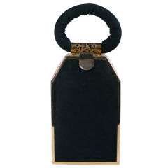 Tyrolean Black Suede And Gilt Filigree Bag