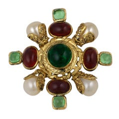 Chanel Ruby and Pale Emerald Poured Glass Brooch