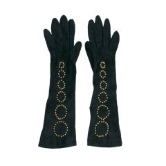 Bottega Veneta Gilt Studded Long Suede Gloves