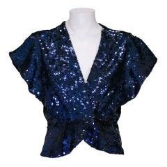 Midnight Blue Sequinned Evening Jacket, 1930s