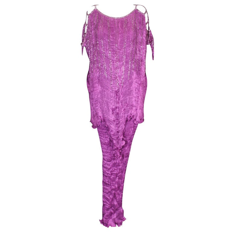 Patricia Lester Fuschia Pleated and Bugle Beaded Silk Gown For Sale ...