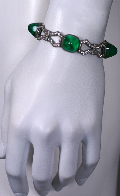 Art Deco Sterling Paste Bracelet In Excellent Condition For Sale In Riverdale, NY