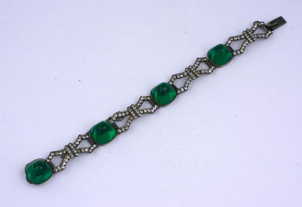 Women's Art Deco Sterling Paste Bracelet For Sale