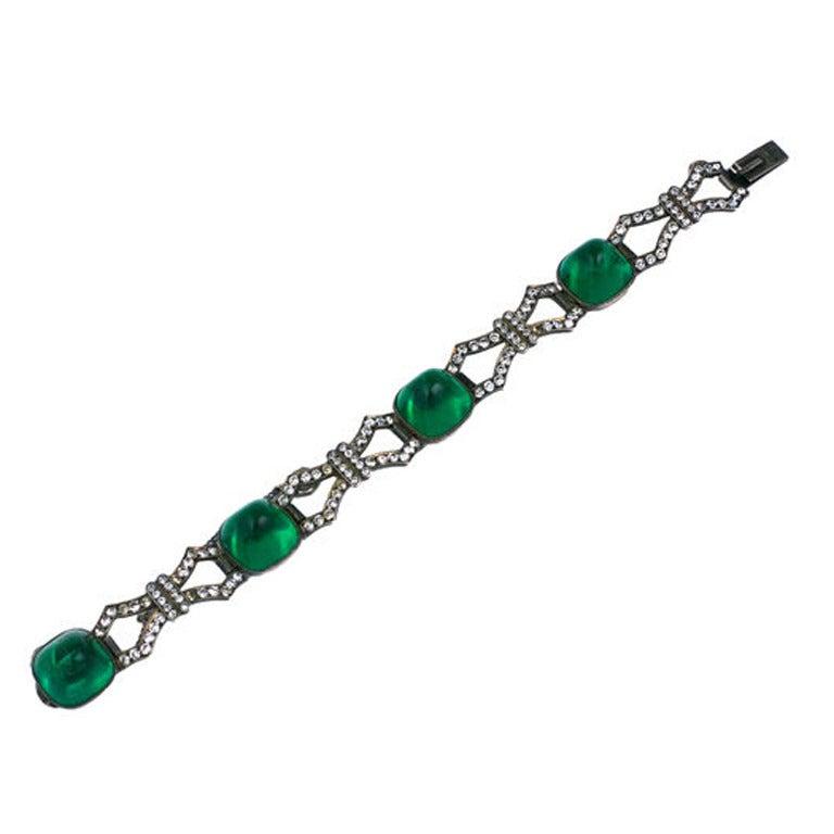 Art Deco Sterling Paste Bracelet For Sale