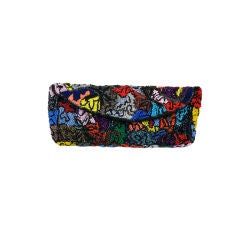 Multicolored Abstract Pattern Beaded Clutch