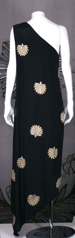 Black Adele Simpson Beaded Silk Crepe Gown For Sale