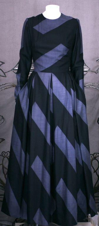 Black Silk Cashmere Wool Graphic Stripe Evening Dress For Sale