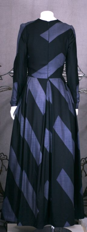 Silk Cashmere Wool Graphic Stripe Evening Dress In Excellent Condition For Sale In Riverdale, NY