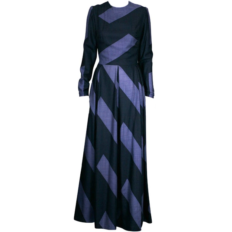 Silk Cashmere Wool Graphic Stripe Evening Dress