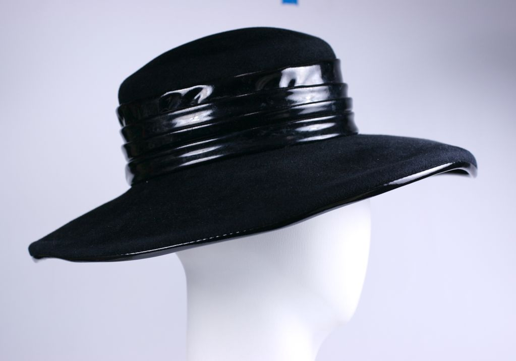 Chic Halston Wool Felt and Patent Hat 2