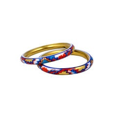 Deco Hand Painted Porcelain Bangles