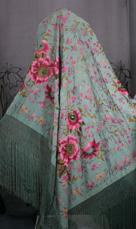 Extraordinary Embroidered Celadon Silk Piano Shawl 1920s