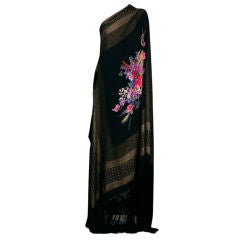 Rare Marcel Rochas 1930s Lame Shawl with Floral Center