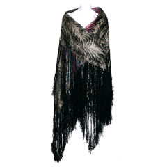Art Deco Lame Broche Fringed Shawl