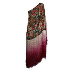 Cubist Lame Broche Fringed Shawl
