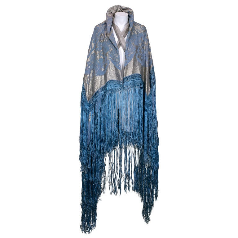 Japanesque Lame Broche Fringed Cape, 1920s