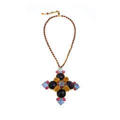 Unusual Multicolor Crest Brooch/Necklace Combination
