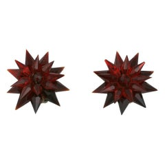 Art Deco ruby red Czech glass star clips