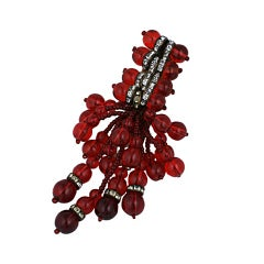 Early Ruby Bead Cluster Dress Clip by Miriam Haskell
