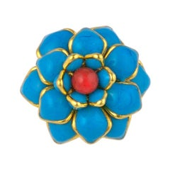 MWLC Turquoise Poured Glass Zinnia Ring