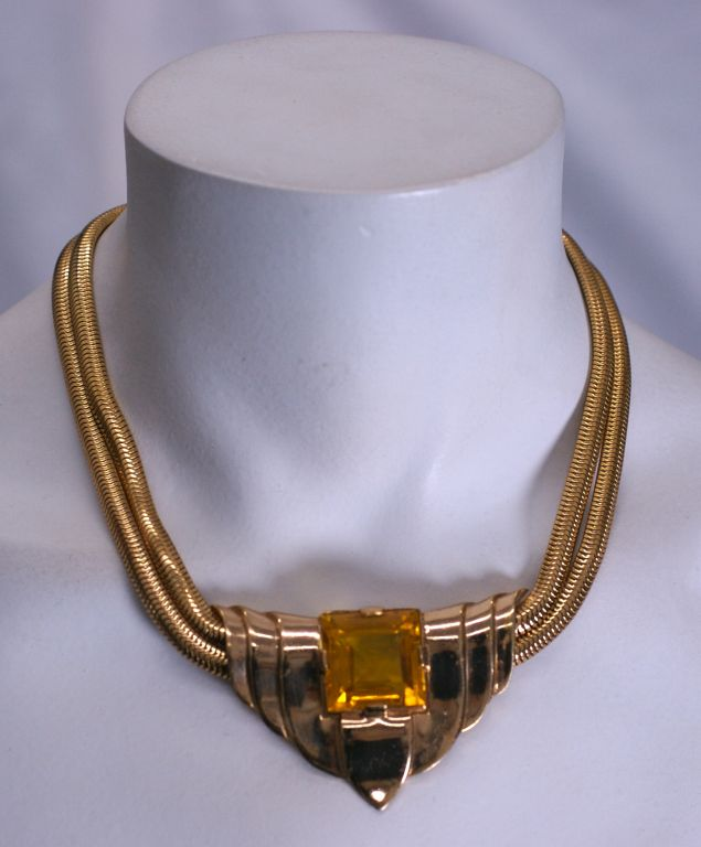 Trifari 1940s Retro Style Faux Topaz Necklace In Excellent Condition For Sale In Riverdale, NY